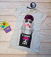 Туника на девочку с пайетками, футболка Девушка и котик 128см Светло-серый меланж паетки, фото 1