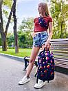 Рюкзак унисекс темно-синий с ярким принтом Likee, фото 5