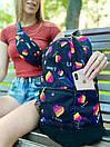 Рюкзак унисекс темно-синий с ярким принтом Likee, фото 6