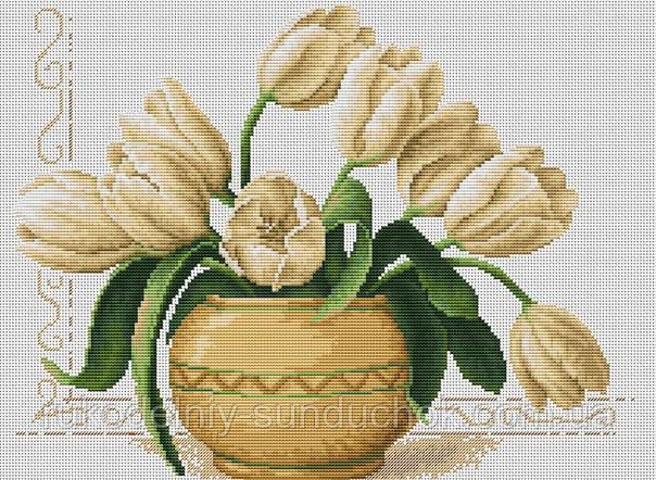 """Набор для вышивания крестом """"Luca-s"""" B2217 Ваза с тюльпанами"""