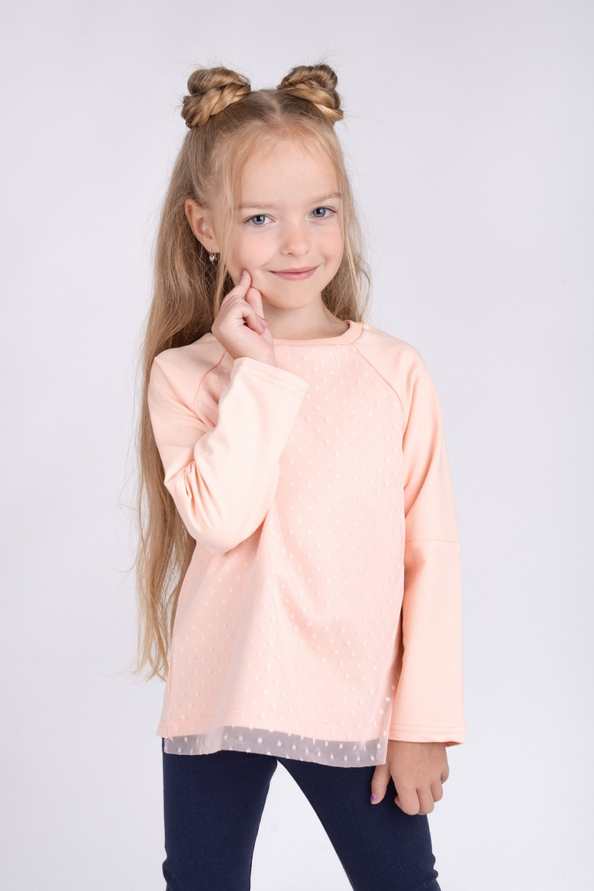 Красивая Кофта с фатином для девочки нежно-персиковая (92-116)
