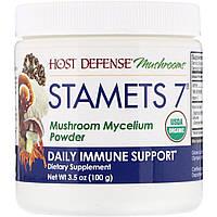 Fungi Perfecti, Stamets 7, мицелий грибов в порошке, добавка для ежедневного укрепления иммунитета, 100 г
