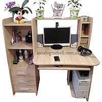 Стол компьютерный с надстройкой с полками с ящиками для школьника 125х125х60 см Дуб Сонома