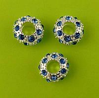 """Бусина в стиле """"Pandora"""" – металлическая с голубыми стразами, 12 мм"""