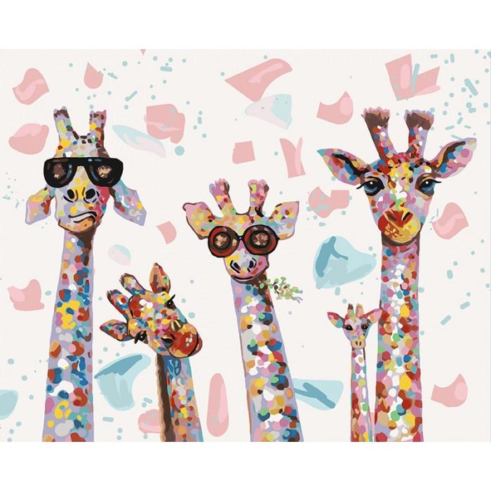 Картина по номерам - Веселые жирафы Идейка 40*50 см. (КНО4115)