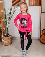 Комплект для девочки лосины + лонгслив ZS KIDS котик лайк малиновый 4224