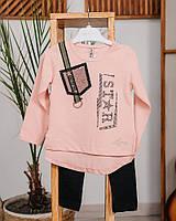 Комплект для девочки лосины + лонгслив ZS KIDS star персиковый 4229