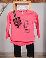 Комплект для девочки лосины + лонгслив ZS KIDS star темно-розовый 4229