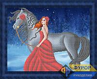Схема для вышивки бисером - Девушка в красном платье и лошадь, Арт. ЛБч3-121