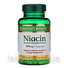 Nature's Bounty, Ниацин, не вызывающий покраснения, 500 мг, 120 капсул