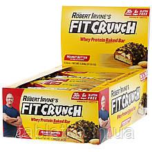 FITCRUNCH, Whey Protein Baked Bar, Peanut Butter, 12 Bars, 3.10 oz (88 g) Each