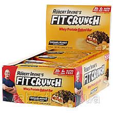 FITCRUNCH, Whey Protein Baked Bar, Caramel Peanut, 12 Bars, 3.10 oz (88 g) Each