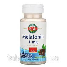 KAL, Мелатонин, натуральный вкус шоколада и мяты, 1 мг, 120 микротаблеток