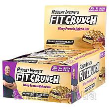 FITCRUNCH, Термообработанный сывороточный протеиновый батончик, с арахисовой пастой и фруктовым джемом,