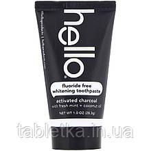 Hello, Fluoride Free Whitening Toothpaste, Activated Charcoal, 1 oz (28.3 g)