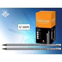 """Олівець простий чорний """"Tukzar"""" з ризинкою заточений 12 шт/уп"""