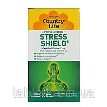 Country Life, Stress Shield, тройное действие, 60 веганских капсул