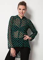 Черная женская блуза MA&GI в зеленые рисунки, фото 1