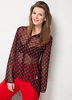 Черная женская блуза MA&GI в красные рисунки