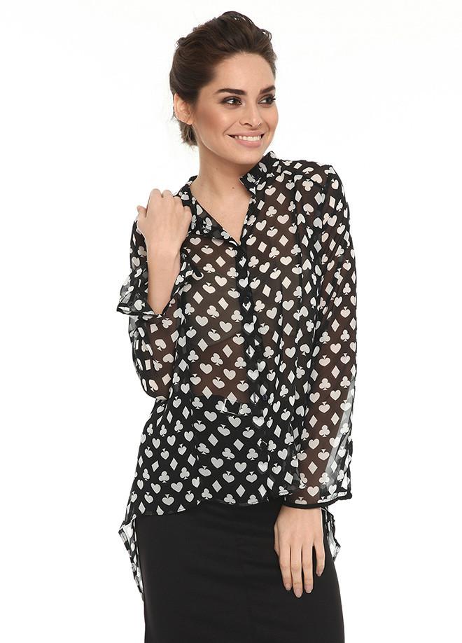 Черная женская блузка MA&GI в белые рисунки