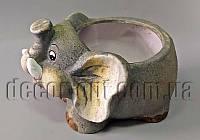 Кашпо Слон большой 19х14см