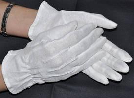 """Рукавички для офіціантів білі бавовняні, розмір """"XS"""" маленька рука (школа/садок), Польські Reis"""