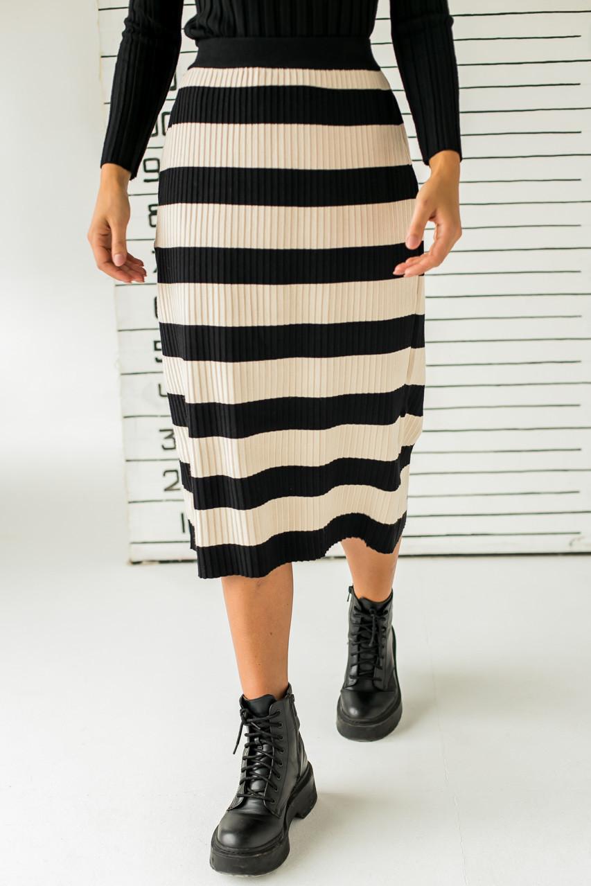 Длинная трикотажная юбка с широкими полосками LUREX - черный цвет, L (есть размеры)