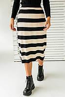 Длинная трикотажная юбка с широкими полосками LUREX - черный цвет, L (есть размеры), фото 1