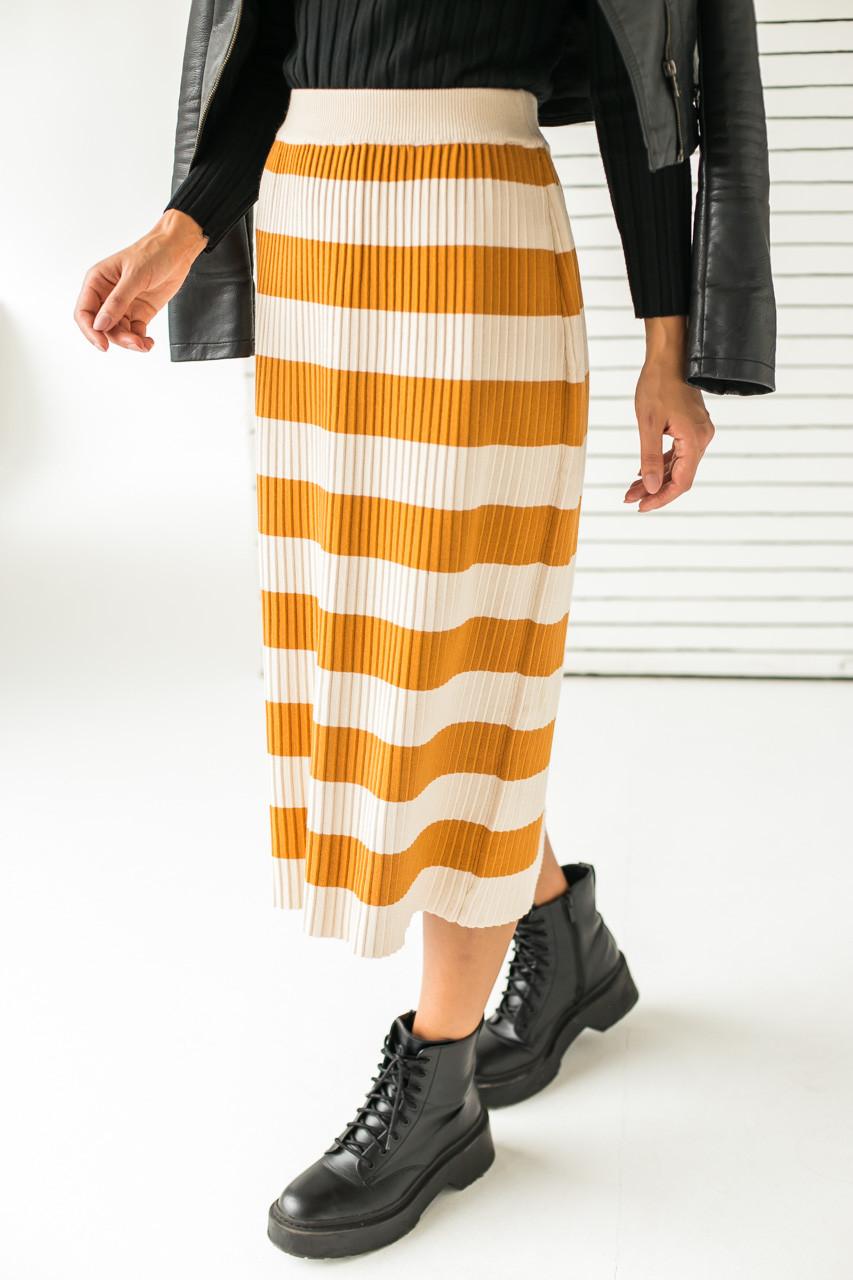 Длинная трикотажная юбка с широкими полосками LUREX - горчичный цвет, L (есть размеры)