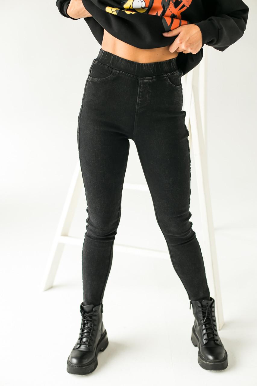 Теплые штаны с лампасами на байке FLNN - черный цвет, 25р (есть размеры)
