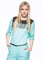 Голубая женская блуза MA&GI с бахромой