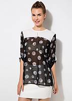Черная женская блуза MA&GI в серый горошек