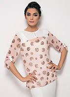 Пудровая женская блузка MA&GI в коричневый горошек