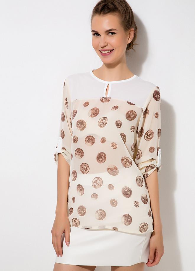 Бежевая женская блузка MA&GI в коричневый горошек