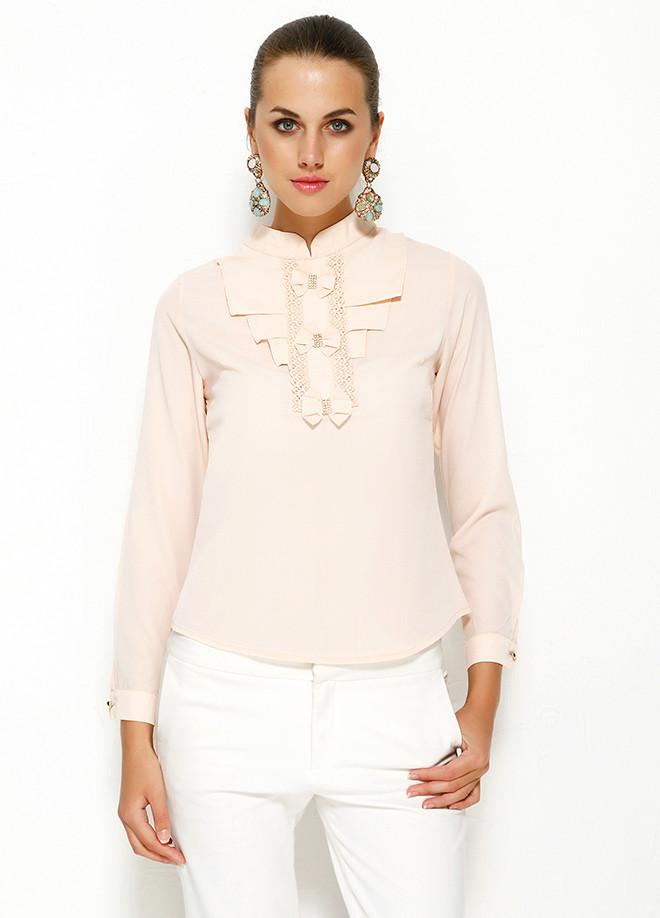 0f173d3e6ab Розовая женская блузка MA GI с жабо - Интернет-магазин