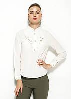 Белая женская блузка MA&GI с жабо, фото 1