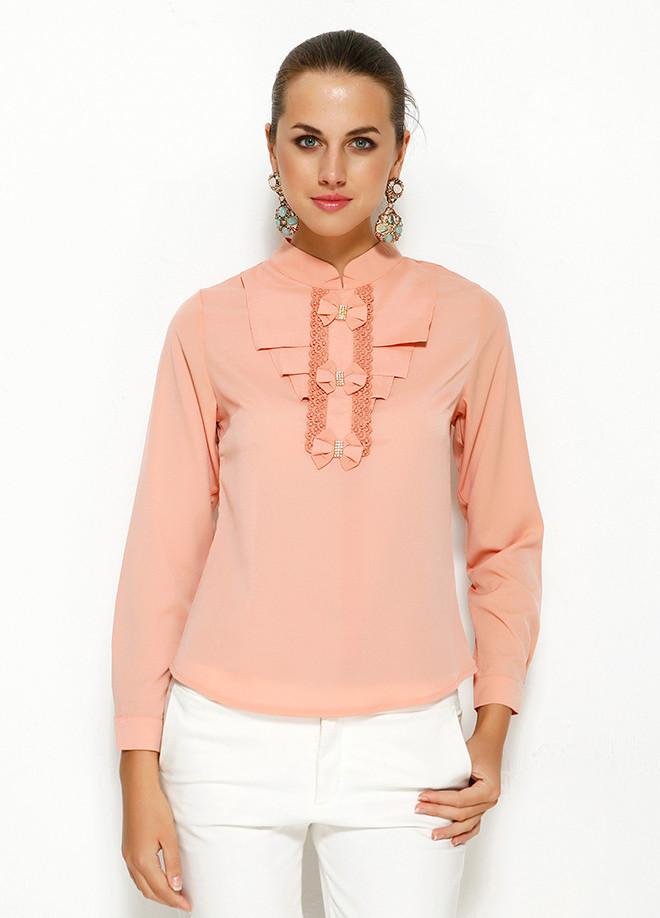 Персикова жіноча блузка MA&GI з жабо