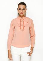 Персикова жіноча блузка MA&GI з жабо, фото 1