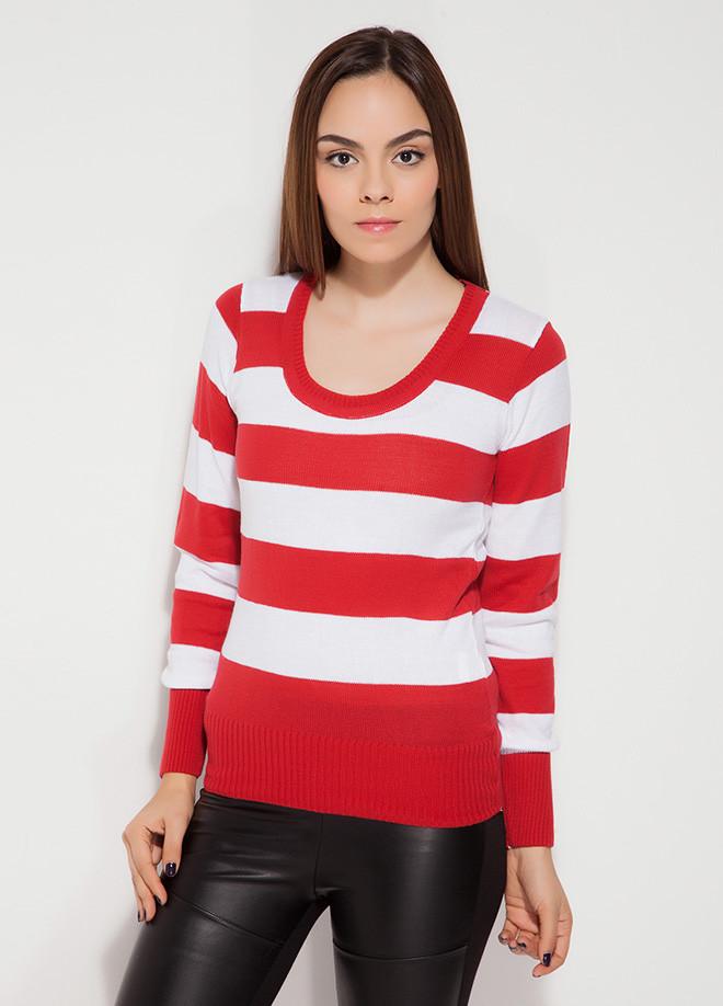 Красная женская кофточка MA&GI в белую полоску