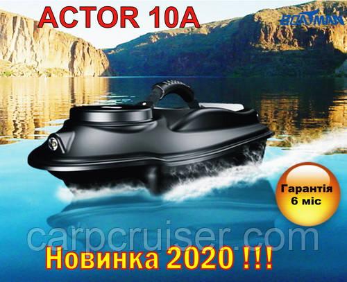 Прикормочный кораблик Boatman ACTOR 10A для рыбалки, завоза прикормки, наживки 2 бункера, 2 скорости