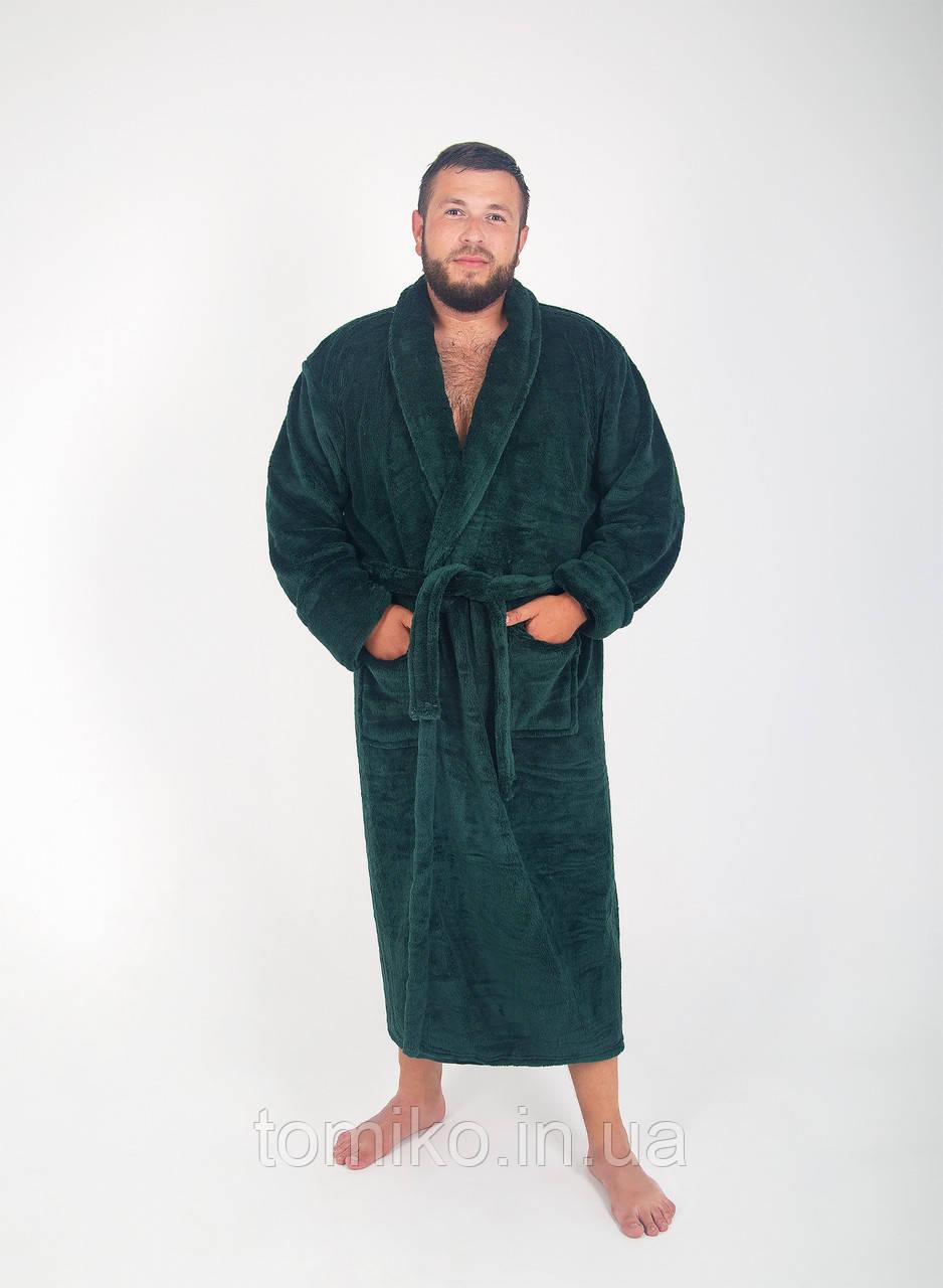 Халат чоловічий махровий ізумрудний оптом і в роздріб, з вишивкою або без.