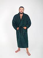 Халат чоловічий махровий ізумрудний оптом і в роздріб, з вишивкою або без., фото 1
