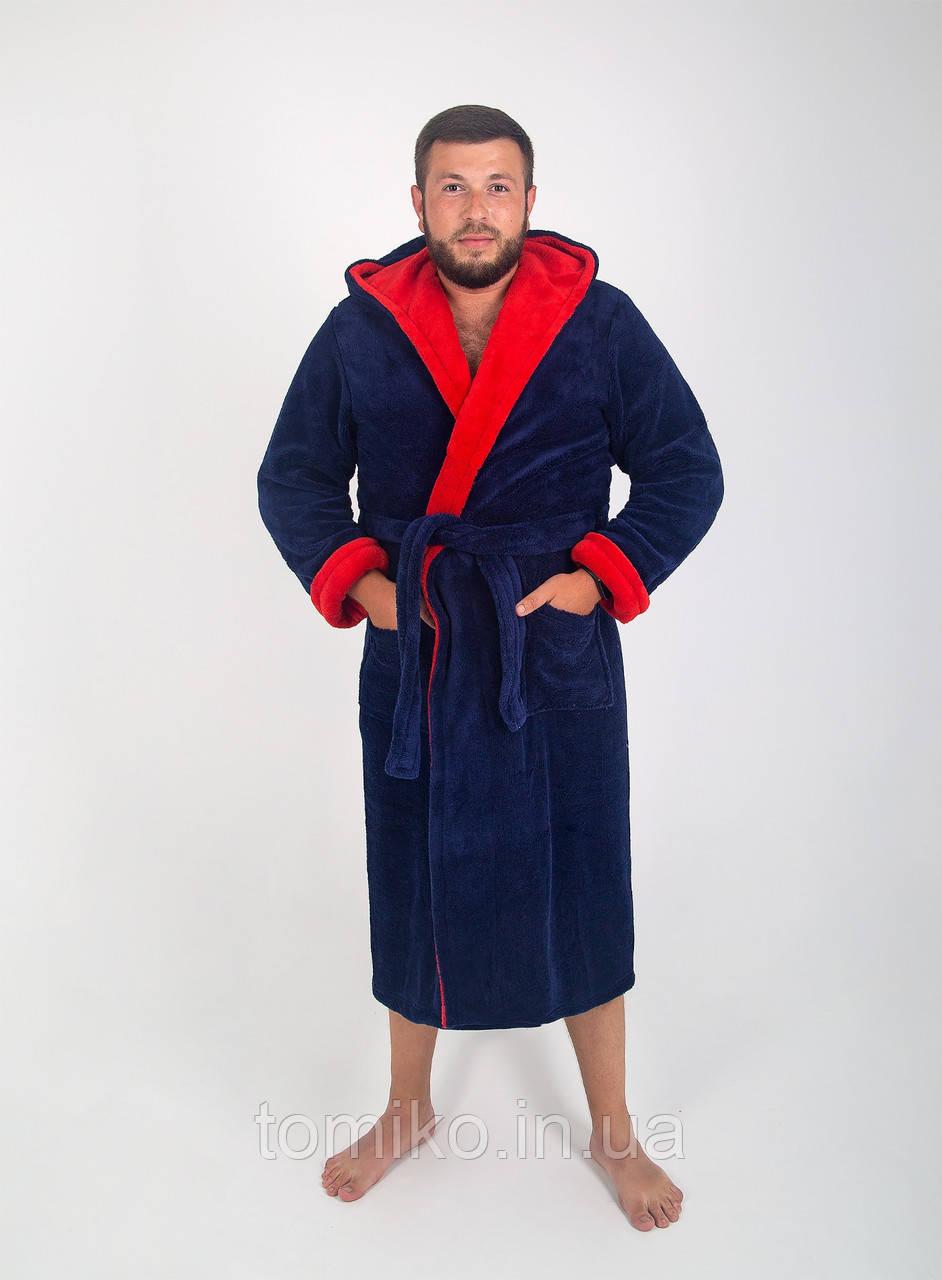Халат чоловічий махровий синій оптом і в роздріб, з вишивкою або без.