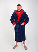 Халат чоловічий махровий синій оптом і в роздріб, з вишивкою або без., фото 1
