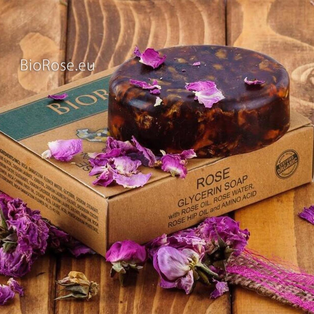 Органическое глицериновое мыло Роза - Rose Glicerin Soap, BioRose, 90 гр