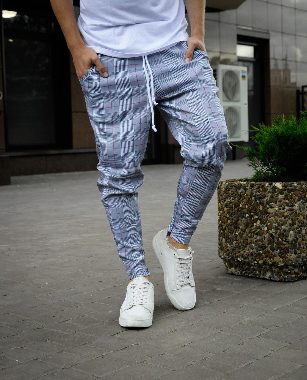 Брюки в клітку сірі  чоловічі | штани весняні осінні ЛЮКС якості