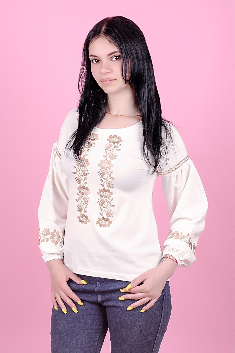✔ Вышиванка для девочек-подростков с длинным рукавом, кремовая