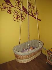 Люлька детская плетенная из лозы. Подвесная.