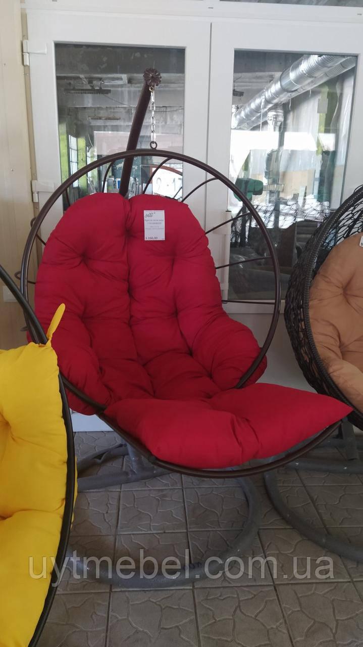 Підвісне крісло куля з підніжкою для ніг зі стійкою шоколад/червоний (Арт-пуф)