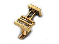 Золотые запонки с черными камнями з00247